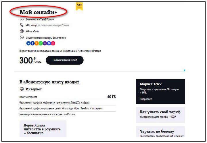 """Выгодные тарифы Теле2 Омск: """"Мой онлайн+"""""""