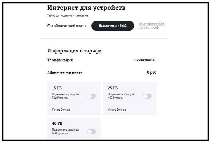 """Тарифы Теле2 для планшета с интернетом: описание тарифа """"Интернет для устройств"""""""